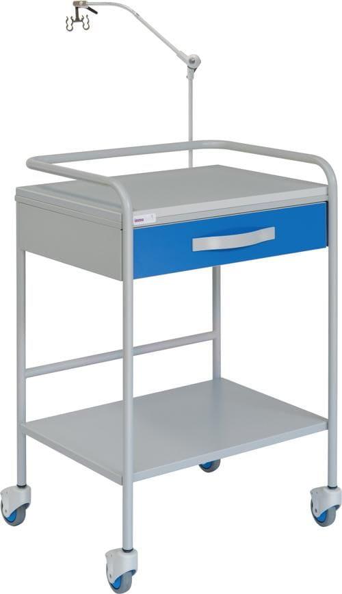 14152  mesa auxiliar para ECG acer pintado entrepaño