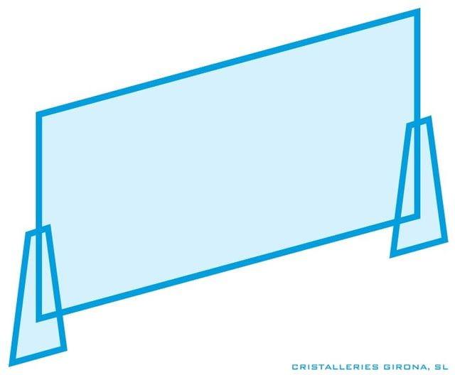 Pantalla amb vidre de seguretat 4+4 i potes laterals