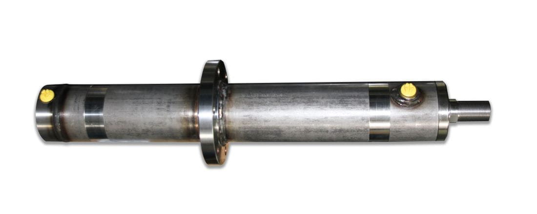 Double-acting hydraulic cylinder with intermediate flange stainless steel
