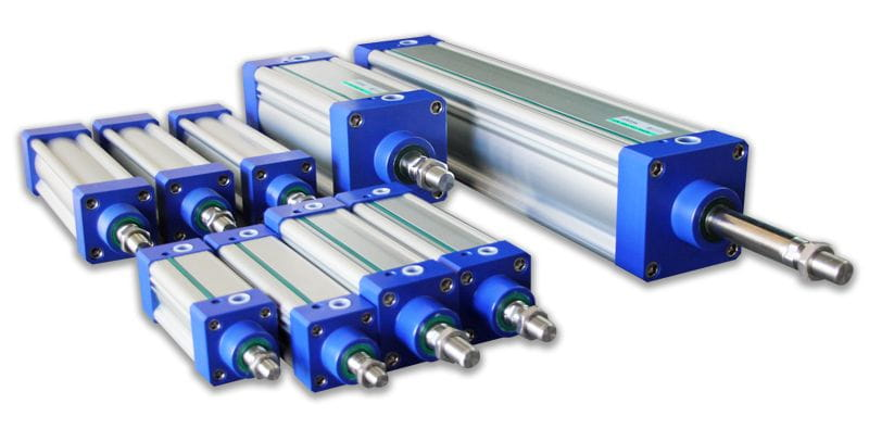 Pneumatic cylinder with acetal resin cap. FDA.