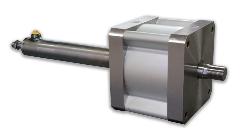 Cilindro combinado hidráulico y neumático.
