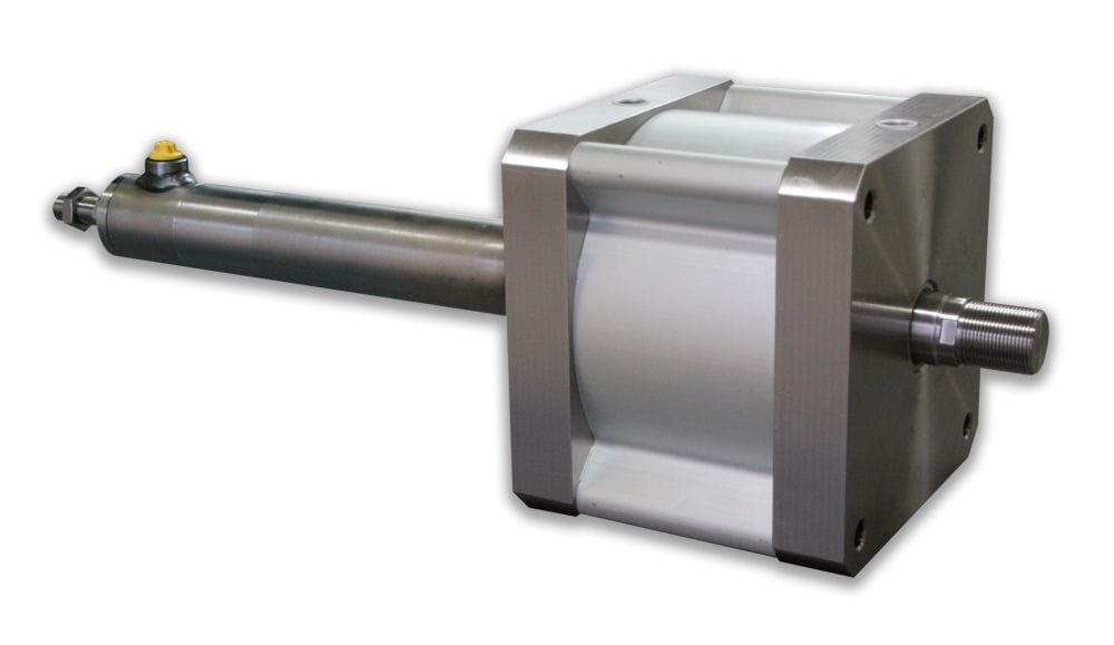 Hydraulic and pneumatic combined cylinder.