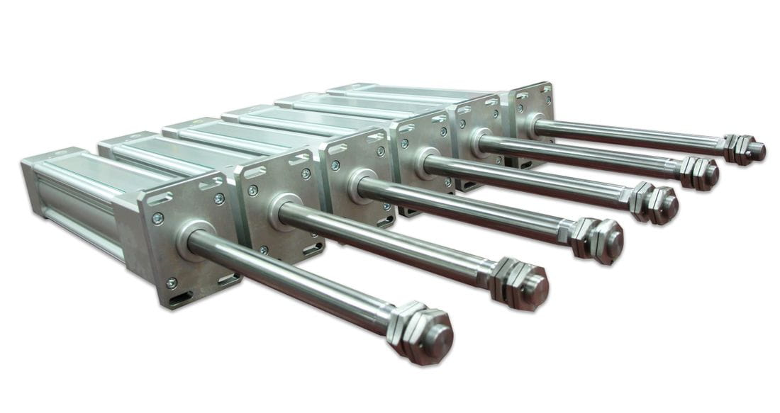 Pneumatic cylinder for high speed and high temperatures
