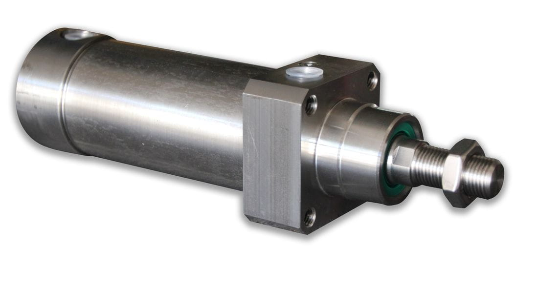 Pneumatic cylinder front fixing