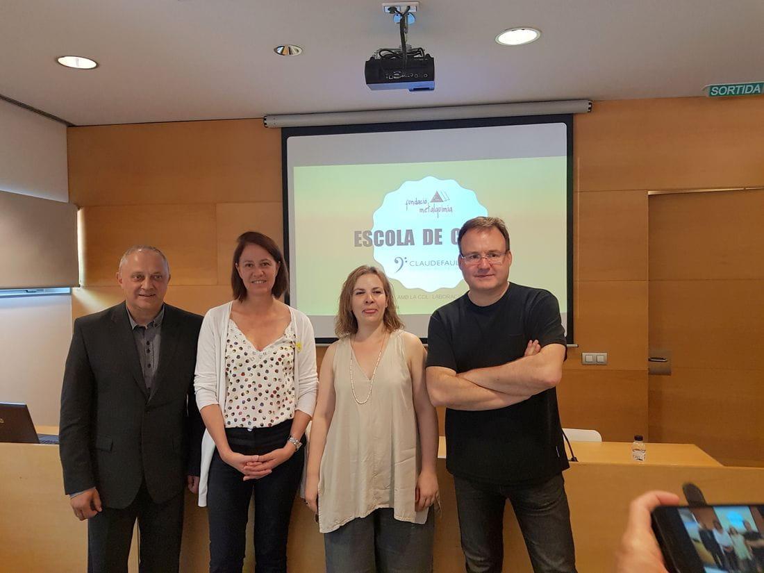 Josep Lagares, Marta Madrenas, Lídia Millet i Francesc Cassú a l'acte de presentació del projecte