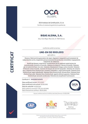 Certificat ISO9001/2015