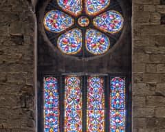 Rosetón de encima de la entrada de Sant Vicenç de Besalú
