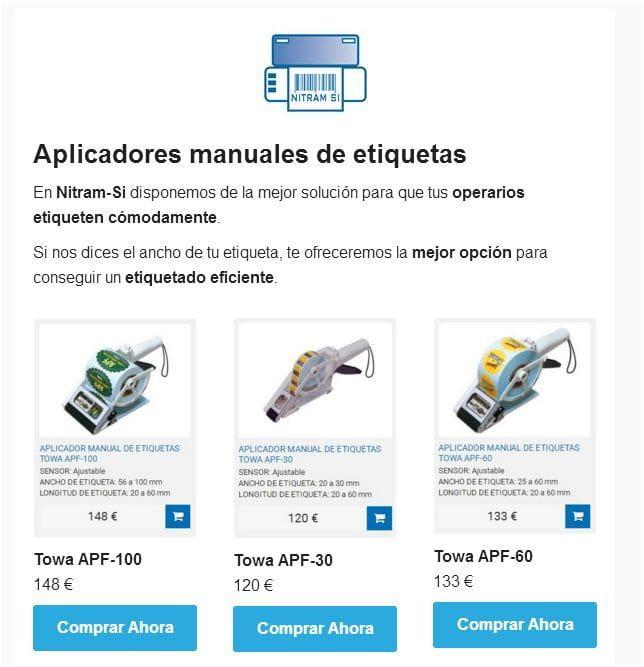 Aplicadores manuales de etiquetas