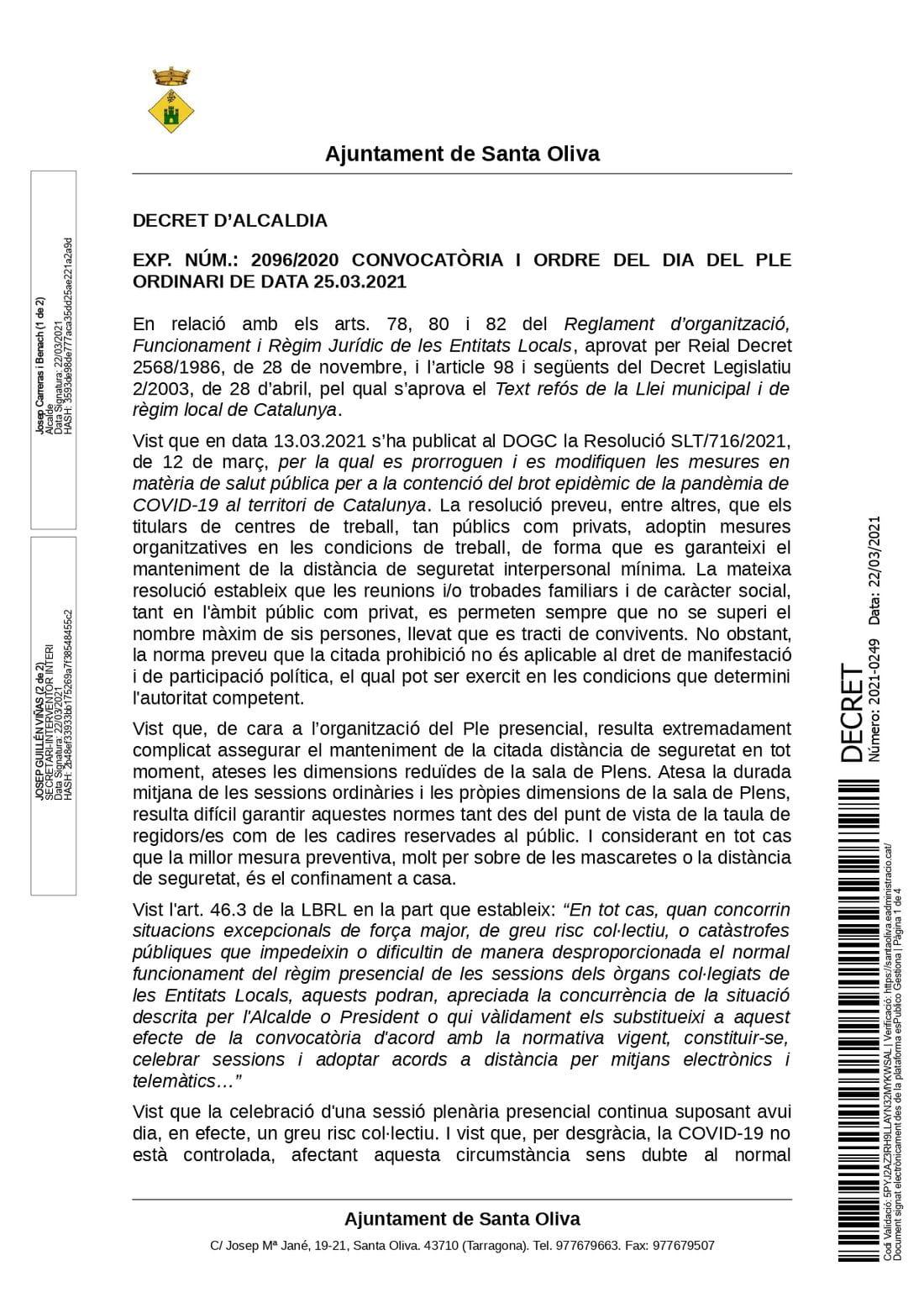 DECRET 2021-0249 [DECRET CONVOCATÒRIA I ORDRE DEL DIA DEL PLE ORDINARI DE MARÇ _ 25.03.2021_page-0001