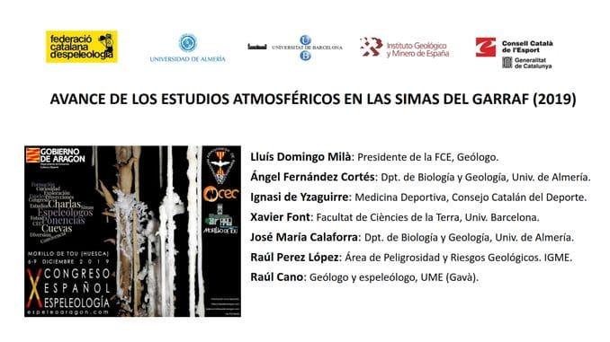 AVANCE DE LOS ESTUDIOS ATMOSFÉRICOS EN LAS SIMAS DEL GARRAF (2019)