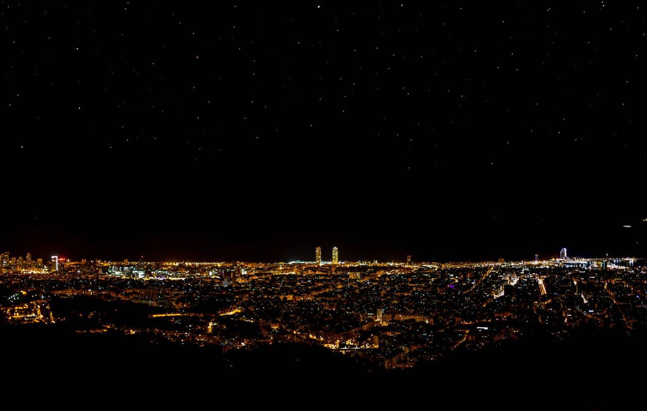 Barcelona Skyline with luminic contamination filter.  Tibidabo. 07.03.19. Kilian Vindel   -  Canon EOS 6D MARK II CANON 50mm f/2.4 8