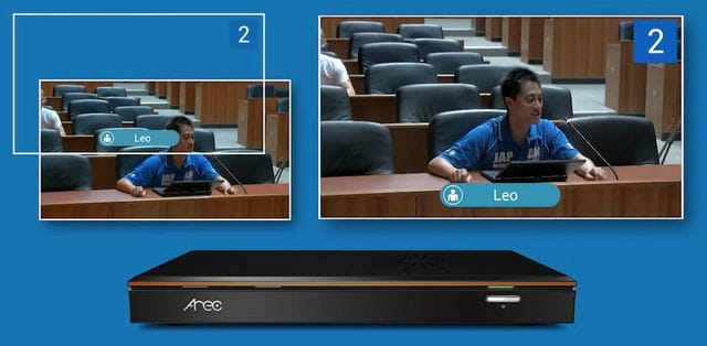 L'interlocutor així com grafismes identificatius es poden visualitzar en un monitor local.