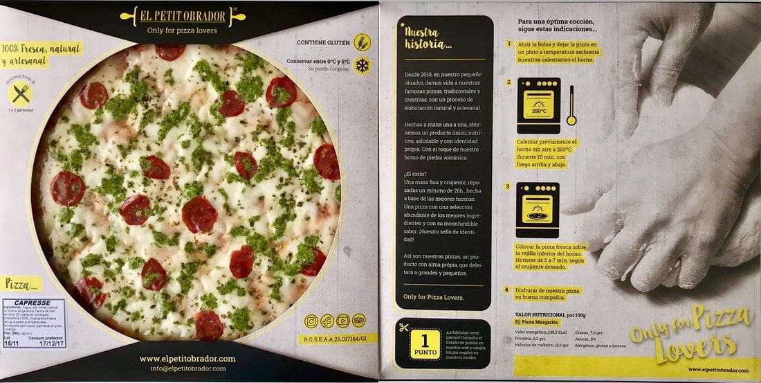 New packaging fresh pizza