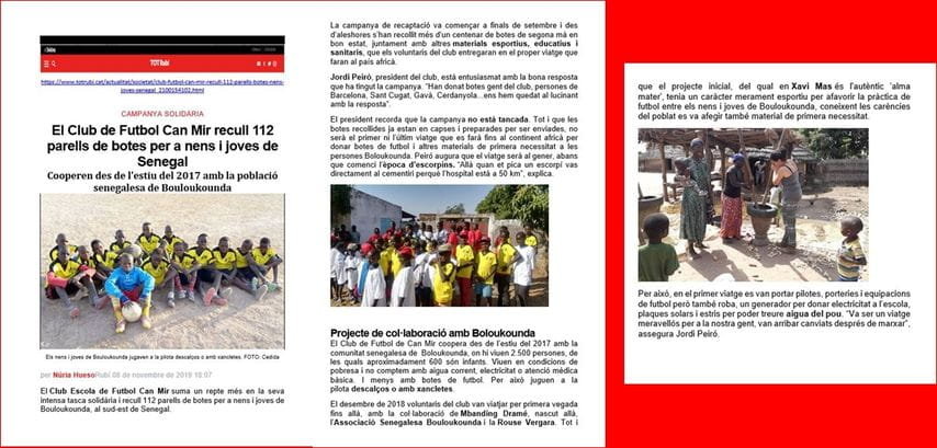 Tot Rubi_El Club de Futbol Can Mir recull 112 parells de botes per a nens i joves de Senegal