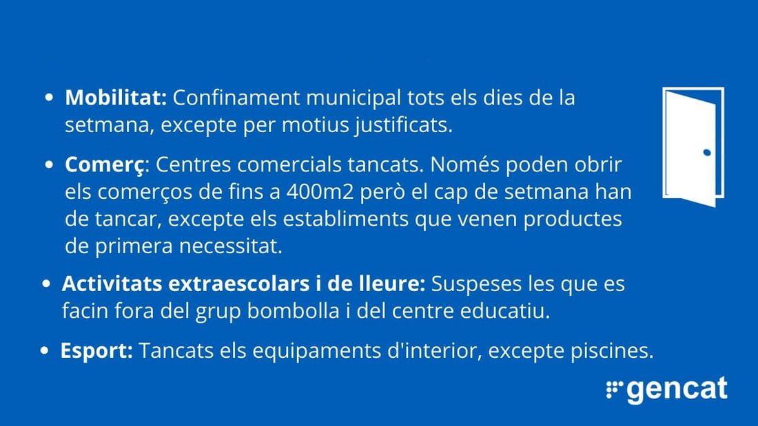 La Generalitat prorroga les restriccions 7 dies més