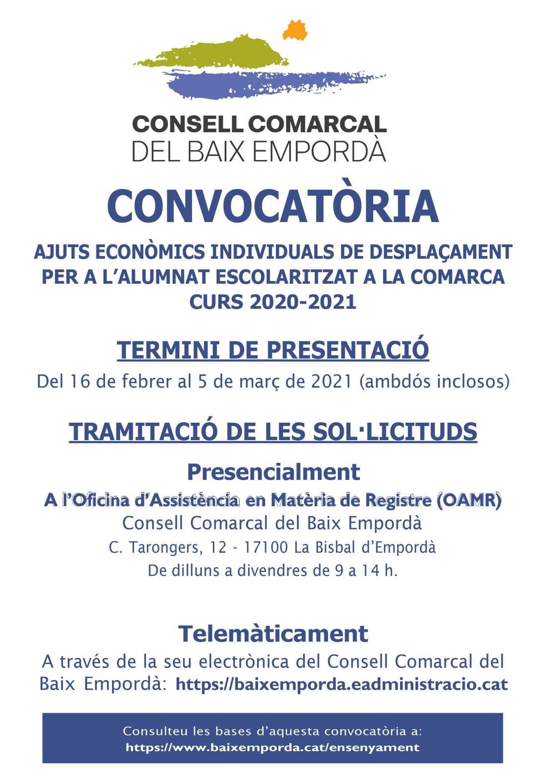 Cartell convocatòria ajust econòmics individuals de desplaçament - curs 2020-2021
