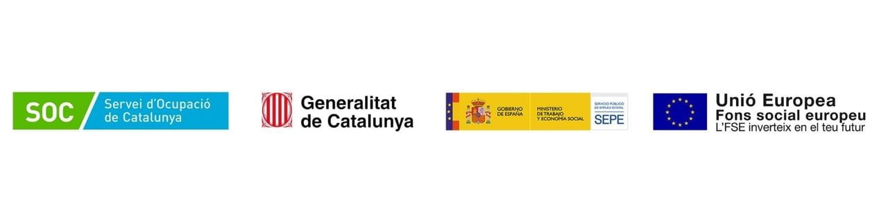 Aquest projecte està subvencionat pel Servei Públic d'Ocupació de Catalunya, finançat pel Servicio Público de Empleo Estatal i cofinançat en un 50% per l'FSE
