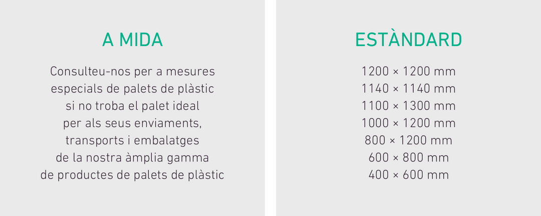 A MIDA Consulteu-nos per a mesures especials de palets de plàstic si no troba el palet ideal per als seus enviaments, transports i embalatges de la nostra àmplia gamma de productes de palets de plàstic