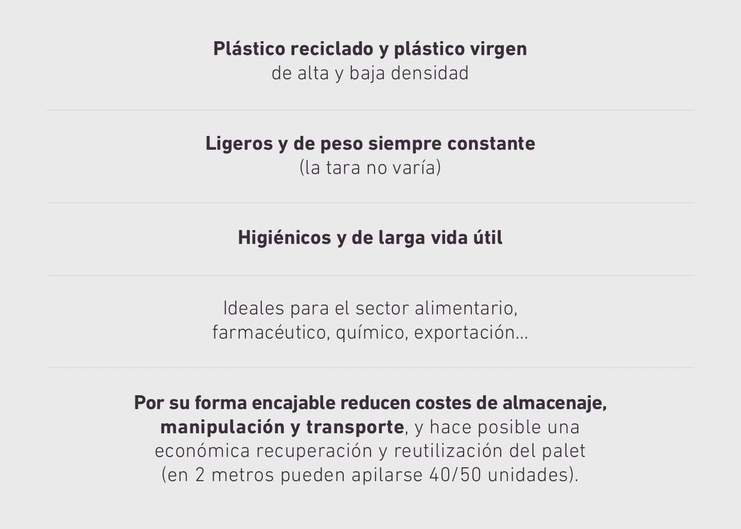 Plástico reciclado y plástico virgen de alta y baja densidad. Ligeros y de peso siempre constante (la tara no varía). Higiénicos y de larga vida útil. Ideales para el sector alimentario, farmacéutico, químico, exportación… Por su forma encajable reducen costes de almacenaje, manipulación y transporte, y hace posible una económica recuperación y reutilización del palet (en 2 metros pueden apilarse 40/50 unidades).