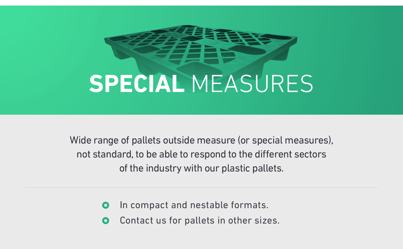 SPECIAL MEASURES. Wide range of pallets outside measure (or special measures), 