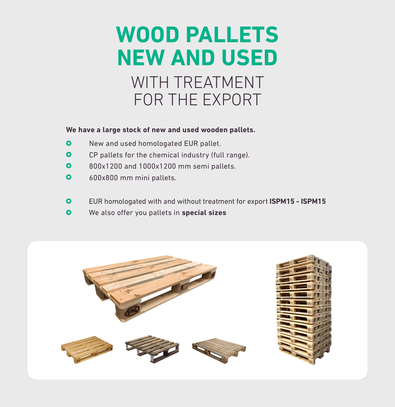 WOOD PALLETS NEW AND USED WITH TREATMENT FOR THE EXPORT