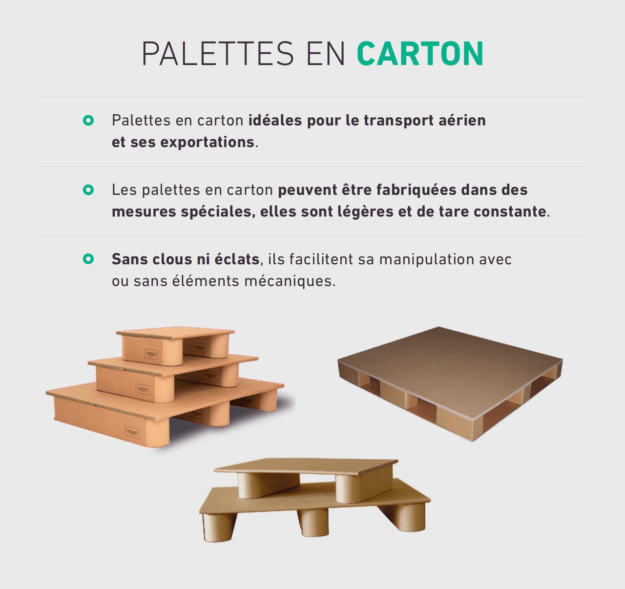 Palettes en carton idéales pour le transport aérien et ses exportations. Les palettes en carton peuvent être fabriquées dans des mesures spéciales, elles sont légères et de tare constante. Sans clous ni éclats, ils facilitent sa manipulation avec ou sans éléments mécaniques.
