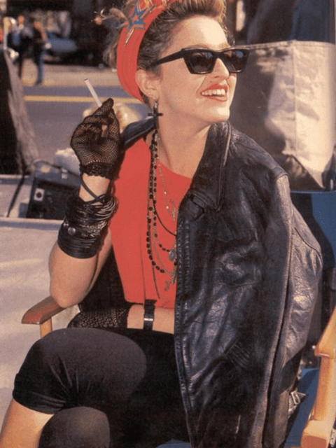 La cantante Madonna con un look rock