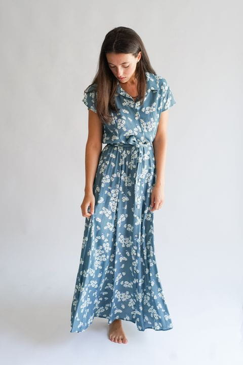 Vestido camisero estampado de flores