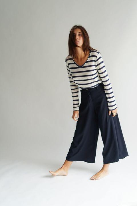 Pantalón culotte, color azul marino