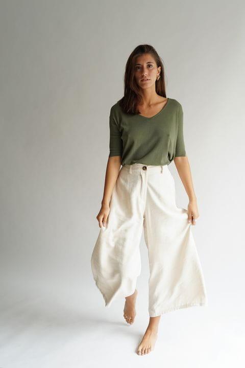 Pantaló culotte, color cru