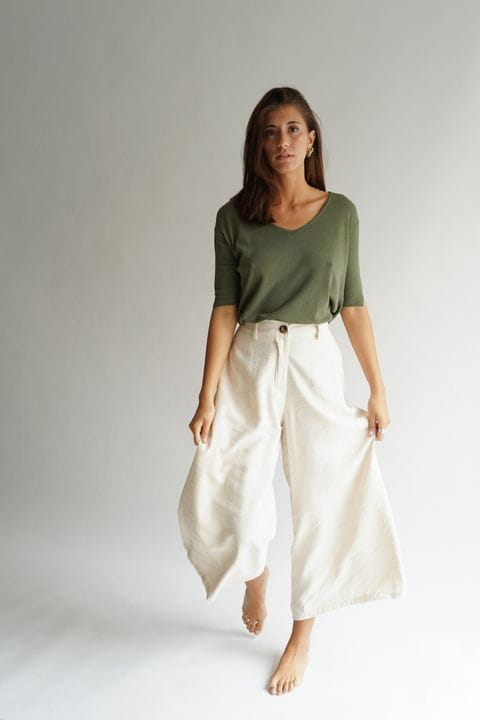 Pantalón culotte, color crudo