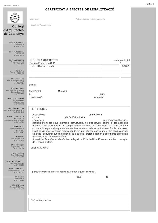 Certificat de solidesa (legalització edifici)