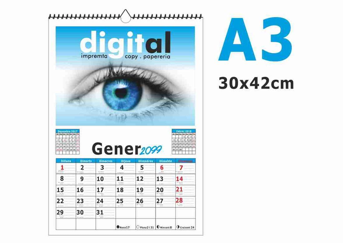 calendari A3 amb espiral