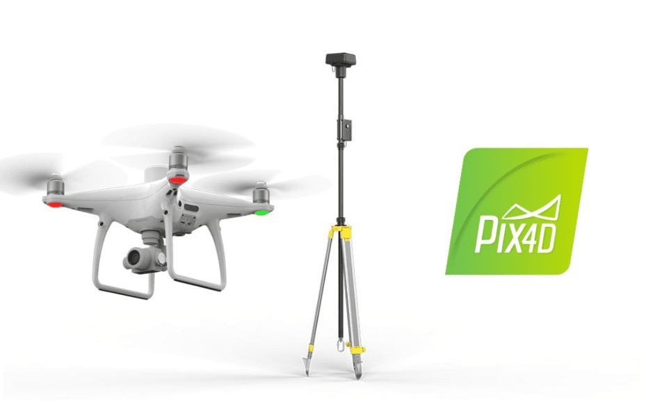 Dron DJI Phantom 4 RTK + Antena de referencia + Software de fotointerpretación PIX4D