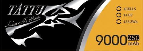 GensAce - Tattu 9000mAh 14.8V 25/50C 4S1P Bateria Lipo