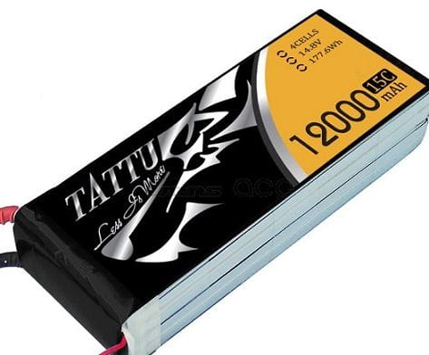 GensAce - Tattu 12000mAh 14.8V 15/30C 4S1P Bateria Lipo