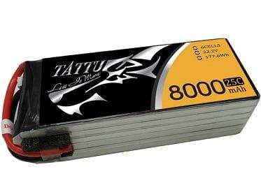 GensAce - Tattu 8000mAh 22.2V 25/50C 6S1P Bateria Lipo