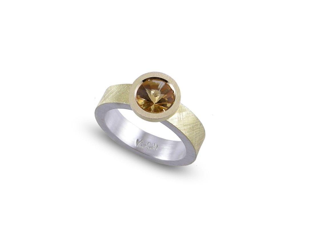 Anell de plata i or amb Citrí VLADIMIR