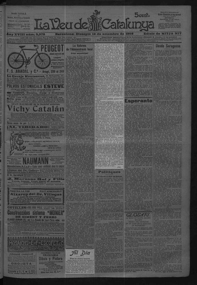 JOURNAL LA VEU DE CATALUNYA, 12 de Septiembre 1908