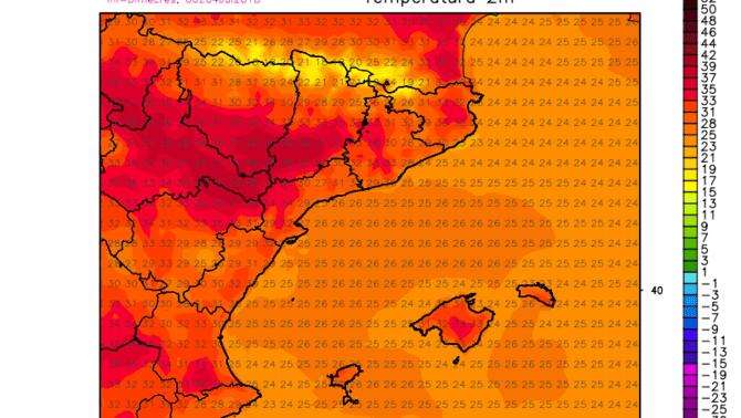 Imagen de las temperaturas previstas para el lunes 9 de julio