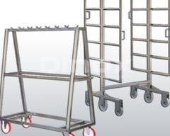Specific loading carts for the product to be washed.