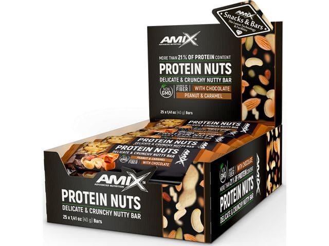 Barrita Proteica de Amix PROTEIN NUTS PEANUT & CARAMEL Caja de 25 Barritas x 40 gr.