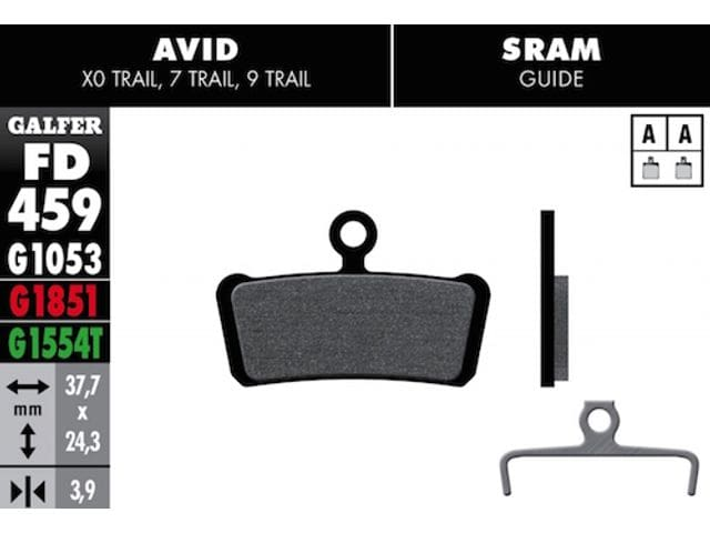 Pastilles Fre GALFER Bikes AVID/SRAM ( Mod. FD459)