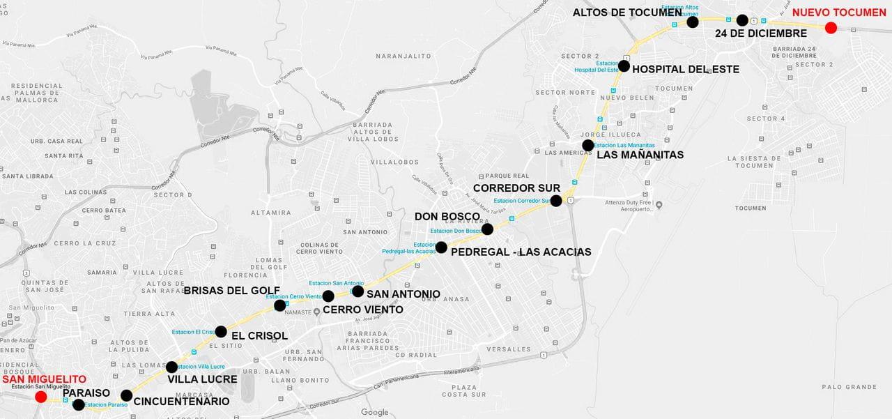 Línea 2 Panamá - 16 estaciones de San Miguelito a Nuevo Tocumen