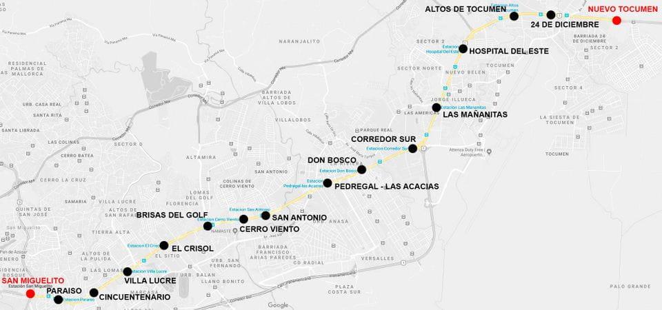 Estaciones línea 2 metro Panamá (de San Miguelito a Nuevo Tocumen)