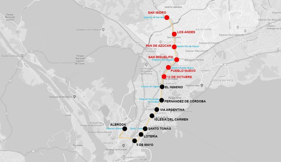 Estaciones línea 1 metro Panamá (San Isidro, Los Andes, Pan de Azúcar, San Miguelito, Pueblo Nuevo y 12 de Octubre)