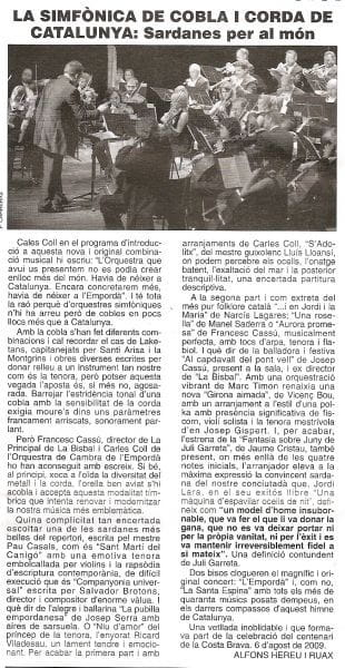 Article about the SCCC published in the magazine Ancora (in Catalan language)