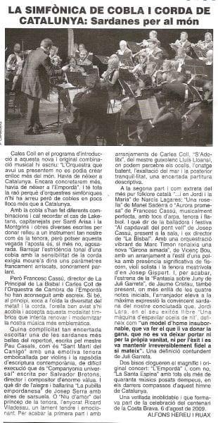 Artículo acerca de La SCCC en la revista Áncora (en catalán)
