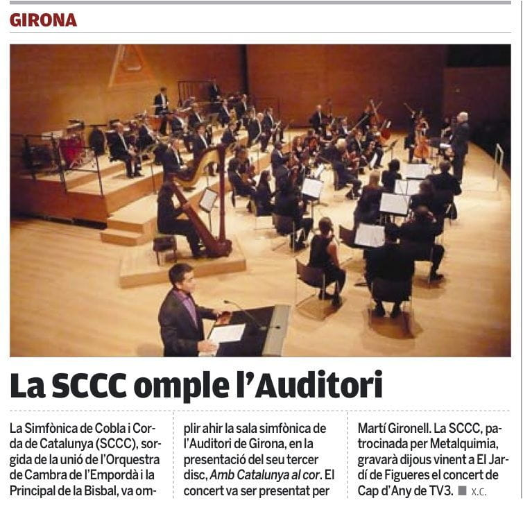 Full house at the Girona Auditorium thanks to the SCCC