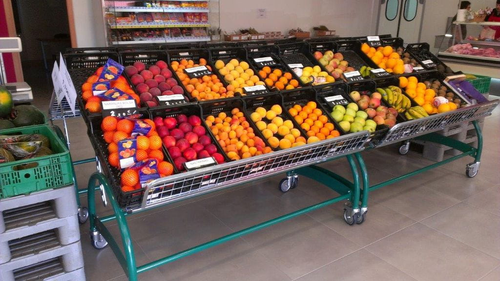 Frutaero mostrador barandilla separador portaprecio cesta - Estanterias para fruta ...